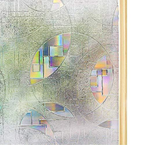 Homein 窓ガラス目隠しシート 窓用フィルム 水で貼る 跡残らず剥がせる uvカット ステンドグラスシール おしゃれ 日に当たると虹色の艶を放出 無接着剤 賃貸OK 貼り直せる 飛散防止 窓飾り 断熱 90x200cm ペアガラス 網入りガラス対応