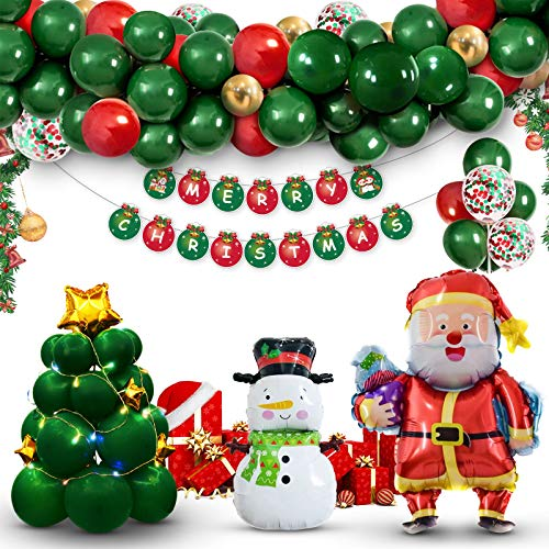 SevenQ Christmas Decorations Balloon Arch Garland Kit, 88 Pcs Xmas Party Supplies Balloon Ornaments Set, Including Merry Christmas Banner, Santa Claus, Snowman, Christmas Tree, Stars