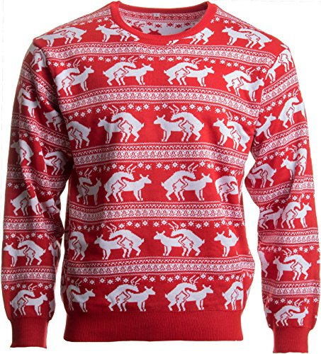 Reindeer Humping Ugly Christmas Sweater w/Holiday Insertion & Christmas Dongs - (L, Red)