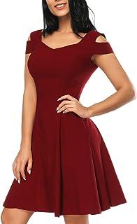 3040d022954 Women s V Neck Flare Dresses Cold Shoulder Party A-line Skater Dress