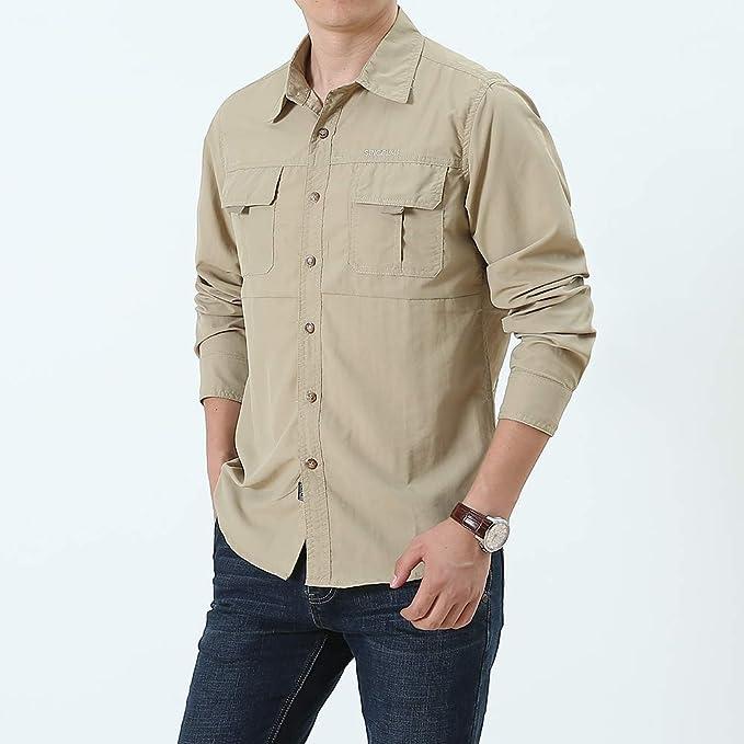 acelyn Camisas de manga larga para hombre, estilo safari, secado rápido, color caqui, verde/gris, S-2XL