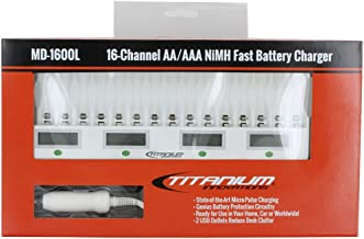 Titanium Innovations 16 Bay/Channel Genius Fast Rechargeable Battery Charger Unit for NiMH AA/AAA Batteries - MD-1600L