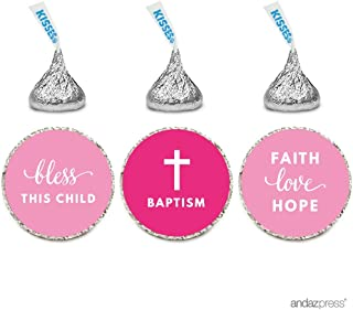 Andaz Press Chocolate Drop Labels Trio, Fits Hershey's Kisses Party Favors, Girl Christening, Baptism or Communion, 216-Pack - Religious, Church, Catholic, Christian, Scripture, Verse, Bible, Biblical, Faith, Hope, Love, Bless, Blessings