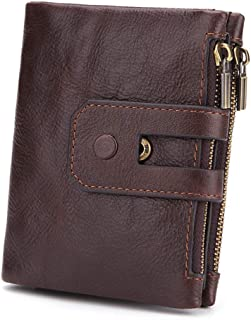 Leather Wallet Zipper Men - Leather Trifold Rfid Wallets for Men - Money Clip Wallets for Men with ID Window - Men'S Short...
