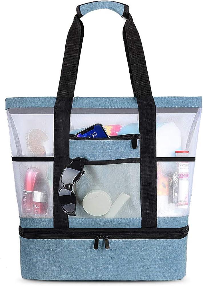 Vbiger, borsa da mare per donna, grande, impermeabile, borsa termica, blu