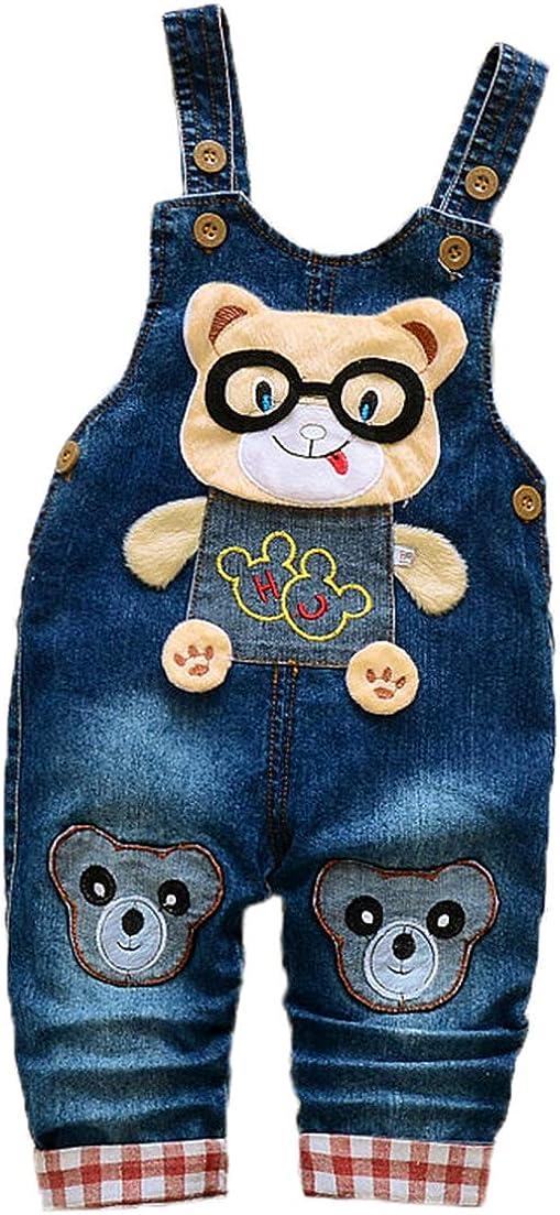 Boys/Girls Adjustable Denim Pants Baby Denim Overalls Jumpsuits for Toddler/Infant