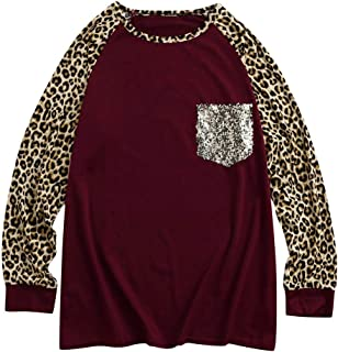 Women Round Neck Tops Long Sleeve Leopard Printed Casual Baseball T Shirt Sweatshirt Blouse with Bling Pocket S-XL