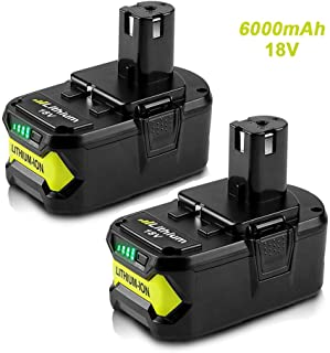 2Pack 6.0Ah 18V Replacement Battery for Ryobi 18V Lithium Battery P102 P103 P105 P107..