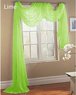 Comfy Deal Beautiful Elegance Fully Stitched Window Sheer Voile Scarf Curtain (Lime Green)