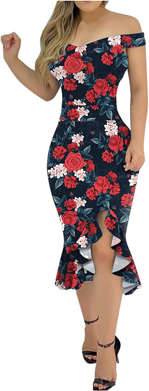 ORT Summer Dresses for Women Sexy Plus Size, Women's Dress,Large Size Multicolor Printing Sexy Party Sleeveless Dress