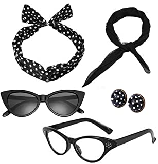 Women 1950's Costume Accessories Set 50s Scarf, Glasses,Headband,Earrings