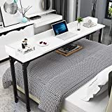 Overbed Table Laptop Desk – Bizzoelife 71 Inches Mobile Computer Desk Rolling Laptop Cart Heavy Duty Metal Leg with Wheels for Bed Sofa (White)