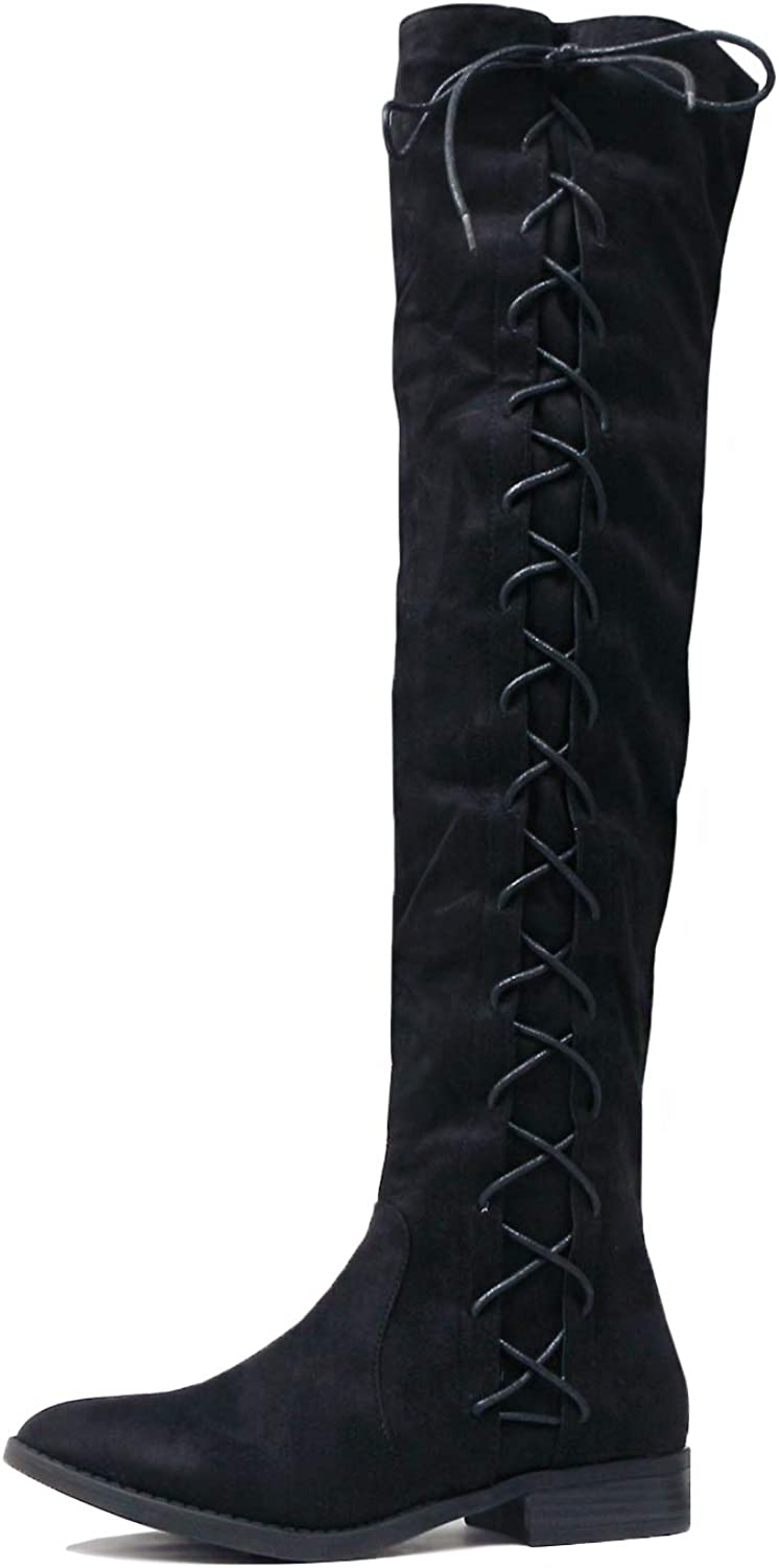 Guilty Heart - Womens Comfortable Lace Tie Over The Knee Thigh High Low Heel Boots