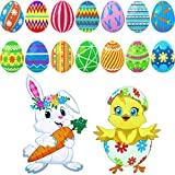Zonon 16 Piece Reflective Easter Car Decorations Magnets and Decals Reflective Easter Eggs Cute Rabbit Chick Magnet Set, Cute Reflective Easter Magnets Decor for Cars or Metal Surface