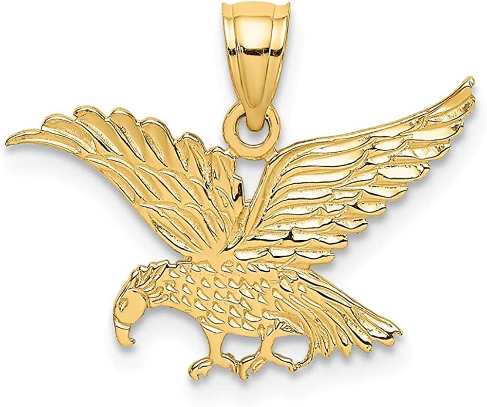 Ranking TOP11 Solid 14k Omaha Mall Yellow Gold Flat and Engraved - 17 Charm Pendant Eagle