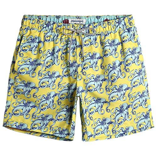 MaaMgic Badehose für Herren Jungen Badeshorts für Männer Schnelltrocknend Surfen Strandhose Surf Shorts mit Mash-Innenfutter MEHRWEG, Krake Gelb, L