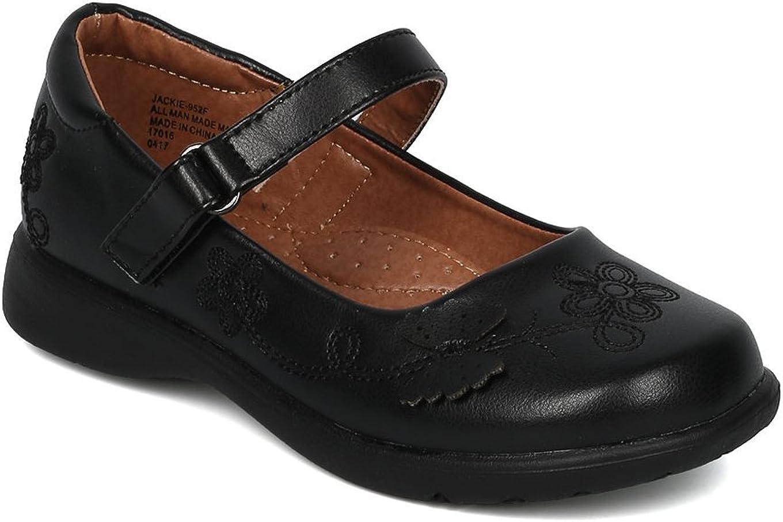 Alrisco Girls Leatherette Round Toe Butterfly Mary Jane Uniform Shoe HC34 - Black Leatherette (Size: 7 Toddler)
