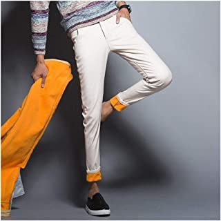 LUKEEXIN Winter Warm Jeans Classic Style Business Casual Thicken Elastic Denim Pants Trousers