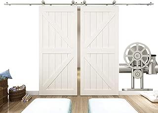 DIYHD 13FT Stainless Steel Double Bi-Parting Sliding Hardware Top Mounted Spoke Wheel Barn Door Roller, kit, Brushed Stain