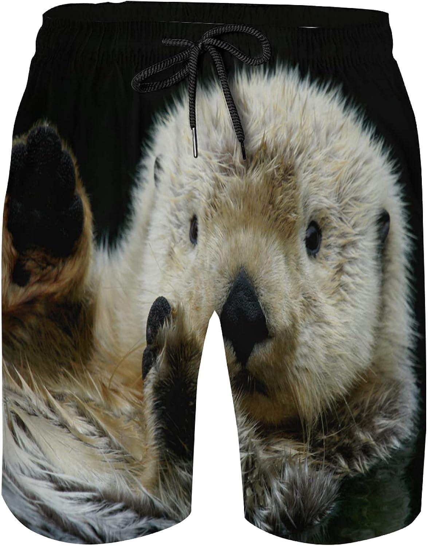 Men's Swim Trunks Mesh Shorts Bathing Suit Teen Boy Surf Casual Beach Wear Cute Funny Sloth On Black Animal