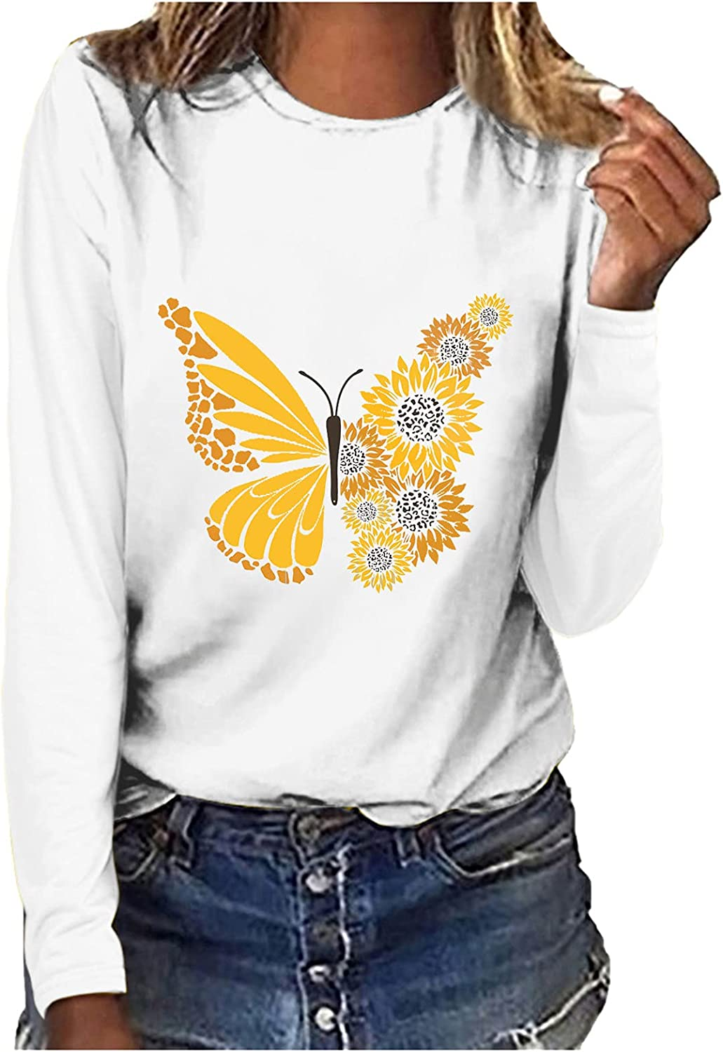 Shirts for Womens Autumn Long Sleeve Sunflower Print Tunics Casual Round Neck Pullovers Tops Winter Basic Blouse Tees