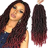 Jarin 18 Inch 6 Pack NEW Locs Crochet Braids Twist Hair Most Natural Deep Faux Locs Crochet Hair Braids Twist Pre-Looped, 100% Premium Kanekalon Fiber Synthetic Hair African Roots Hair Extensions T1B/BUG