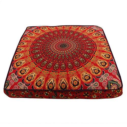 Mandala-Kissenbezug, Boho-Bodenkissen, Boho-Sitz, bunter Bodenkissenbezug, Pouf, Meditationskissen, Sitzgelegenheit, Boho-Hundebett, Boho-Dekor,