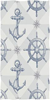 Wamika Nautical Themed Hand Towels Ship Wheel And Anchor Bath Bathroom Towel Multipurpose Fingertip Towels Highly Absorbent for Hand,Face,Gym,Spa,30 X 15 Inch