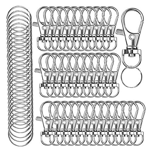 Crafting 120 piezas de llaveros giratorios cierres de garra de langosta para hacer accesorios sujetador pulseras de gancho regalo para familiares amigos 120 piezas de llaveros broche de garra de de de