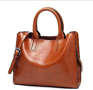 Bolsos de Las Mujeres, Popoti Bolsos de Mensajero de Cuero Bolso de Hombro Messenger Crossbody Bag Billetera Vintage Nuevo...