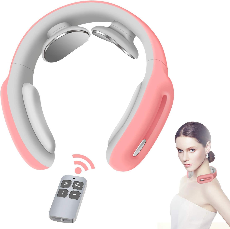 Masajeador de cuello, masaje de cuello inteligente con calor, 3 modos, 15 niveles, masajeador eléctrico de tejido profundo, uso en el coche de la oficina en casa para aliviar el dolor