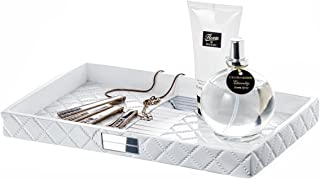 Quilted Mirror Vanity Tray – Decorative Cosmetics Organizer - Durable Resin - Best Bathroom Trays for Arranging Perfume/Jewelry/Makeup - Elegant Bathroom Accessories (White)