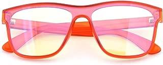 GAMEKING Mega Oversize Blue Light Blocking Computer Glasses Gaming Glasses Amber Tint Lens for Digital Eyes Strain Headache Relief Better Sleep (Translucent Coral)