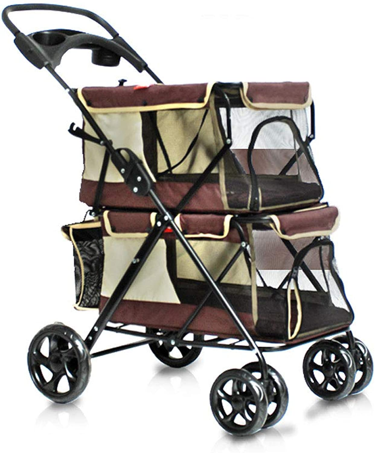 Puppy Cat Pet Travel Stroller Pet Trolley Pushchair Rear Brakes Maximum Load 20kg (color   BROWN)