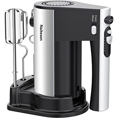 600W 10 Speed Electric Hand Mixer Powerful with Turbo Handheld Mixer for Baking Cake Lightweight & Efficiency Kitchen Mixer with Beaters Dough Hooks, Whipping Mixing Cookies, Brownies, Batters, Meringues, Mashed Potatoes