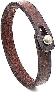 MLD Handmade Unisex Genuine Leather Bracelet, Adjustable Cuff Wristband,Punk Leather Wrap