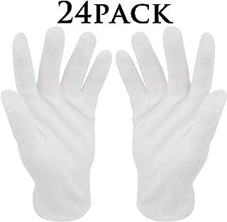 Guantes de algodón blanco,12 pares BESTZY Guantes terapéuticos hidratantes cosméticos para manos secas,ecczema,belleza,monedas,joyería e inspección de plata–Mediano