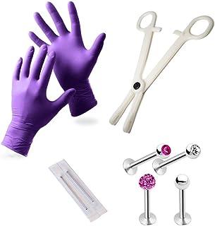 Sponsored Ad - EG GIFTS Pro Lip Monroe Piercing Kit Including Gloves Needles Forceps Studs Included