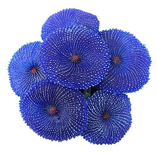 iFCOW - Figura decorativa de coral artificial de silicona para acuarios, plantas de acuario y peceras, decoración de paisaje, color azul