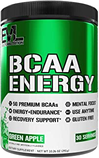 Evlution Nutrition BCAA Energy - High Performance Amino Acid Supplement for Anytime Energy, Muscle Building, Recovery and Endurance, Pre Workout, Post Workout (Green Apple, 30 Servings)