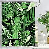 Bonhause Duschvorhang 180 x 180 cm Tropische Palmblätter Grüne Pflanze Duschvorhänge Anti-Schimmel Wasserdicht Polyester Stoff Waschbar Bad Vorhang für Badzimmer mit 12 Duschvorhangringen