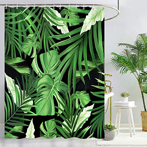 Bonhause Tropical Palm Leaves Shower Curtain with 12 Hooks Green Plant Decorative Bath Curtain 72 x 72 Inch Polyester Fabric Machine Washable Waterproof Bathroom Curtain