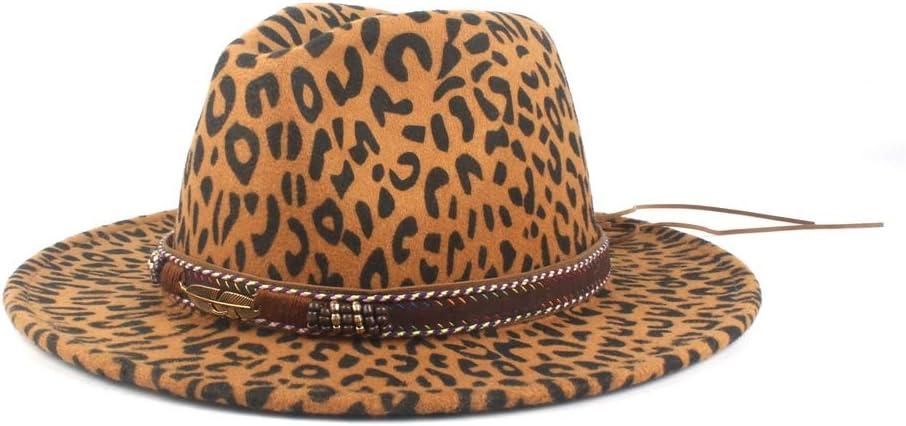 LHZUS Hats Ladies Men's Vintage Wool Polyester Fedora Hat Leather with Elegant Ladies Winter Autumn Jazz Hat Fashion (Color : Dark Khaki, Size : 56-58cm)
