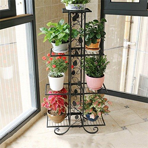 Noir Élégant Fer Fleur Racks/Stand Plancher Style Fleur Pot Balcon Salon Planter Fleur Présentoir