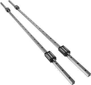 OrangeA Linear Rail 2X HGH 20-1500mm Linear Slide Rail + 4X Pillow Block Carriage Bearing Block Linear Guideway Rail for Automated Machines and Equipments