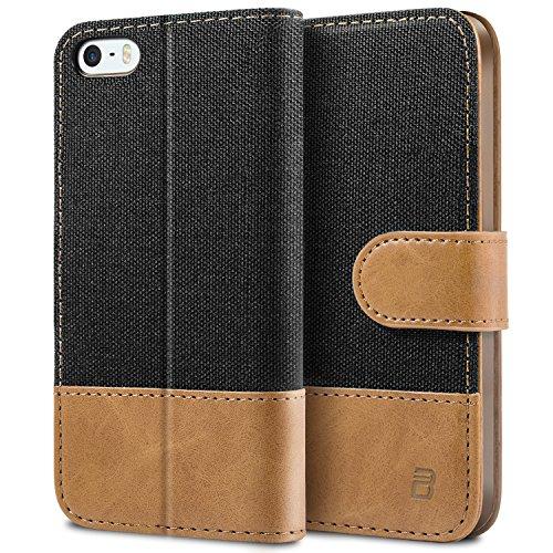 BEZ Hülle für iPhone SE Hülle, Handyhülle Kompatibel für iPhone SE 5 5S Hülle, Handytasche Schutzhülle Tasche [Stoff & PU Leder] mit Kreditkartenhaltern - Schwarz