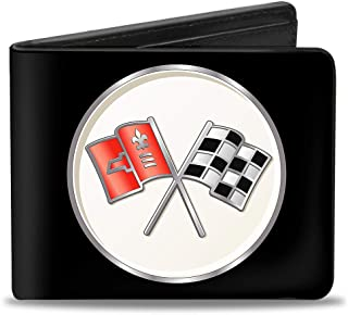 PU Bifold Wallet - Corvette C2 Flags Logo Black