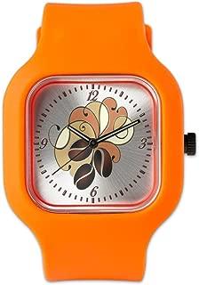 Orange Fashion Sport Watch Coffee Bean Floral