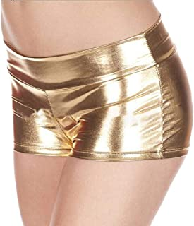 Spirio Women Club Lingerie Sexy Metallic Wet Look Shorts