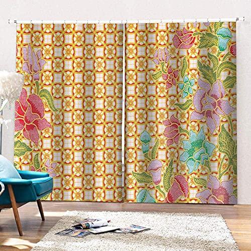pgjremd Cortinas Opacas Patrón De Flores Amarillas Cortinas Opacas con Ojales con Aislamiento Térmico para Dormitorio 250 (H) X140 (W) Cmx2 H777